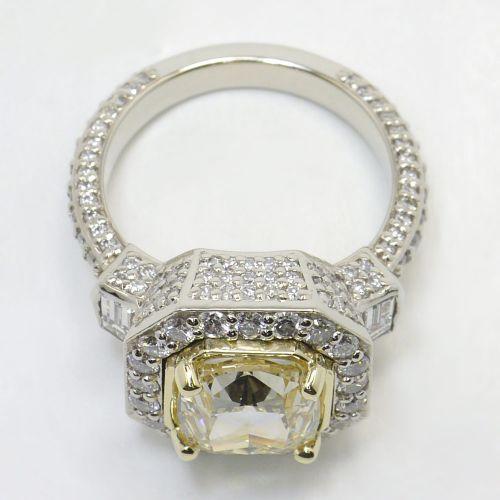 Diamond Encrusted Three Stone Halo Ring | Image 04