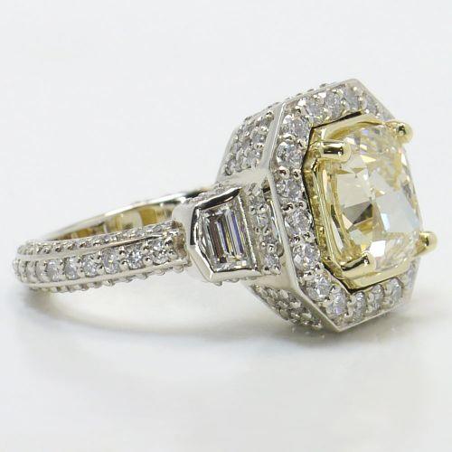 Diamond Encrusted Three Stone Halo Ring | Image 03