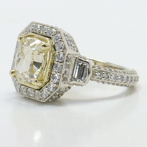 Diamond Encrusted Three Stone Halo Ring | Image 02