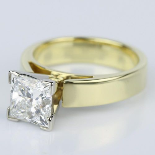 Flat Cathedral Solitaire Princess Diamond Engagement Ring in Yellow Gold 1 7