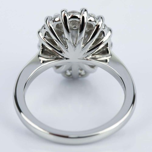 Floral Halo Engagement Ring with Pear Cut Diamond 2 38 ct