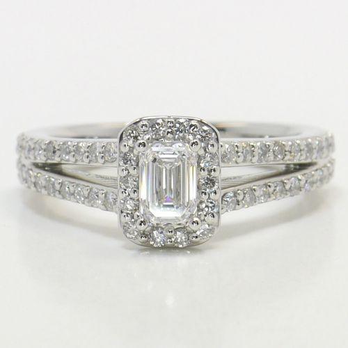 Halo Split Shank Emerald Cut Diamond Ring