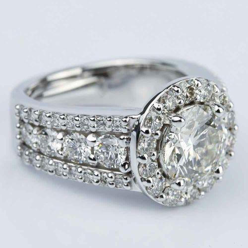 Halo Three Row Diamond Engagement Ring 2 Carat