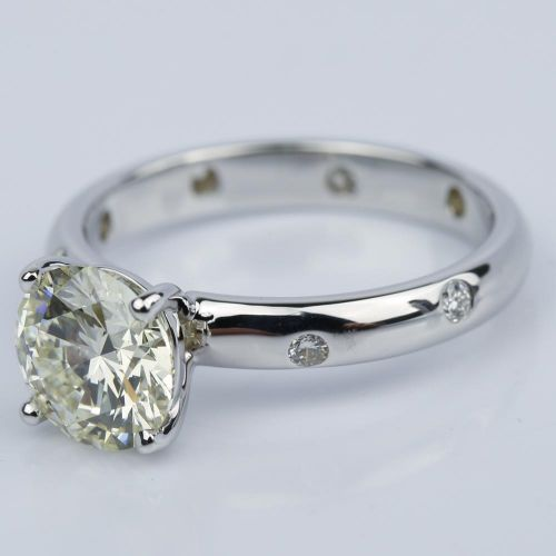 Inset Diamond Engagement Ring in White Gold with Round 1 93 Carat