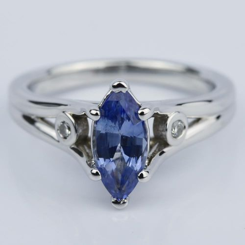 Marquise Sapphire Engagement Ring with Diamond Accents