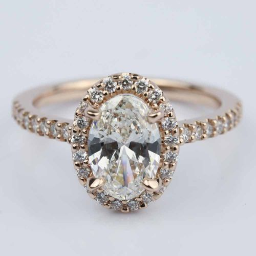 Oval Halo Diamond Engagement Ring in Rose Gold 1 50 ct