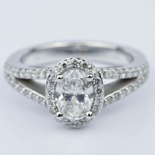 Oval Halo Split Shank Diamond Engagement Ring 1 05 ct