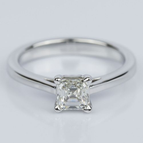 Petite Cathedral Asscher Engagement Ring in White Gold (0.70 ct.) | Image 01