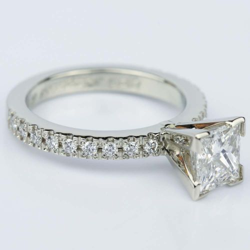 pave princess cut engagement ring in white