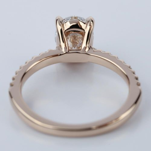 Scallop Oval Diamond Engagement Ring in Rose Gold 1 31 Carat
