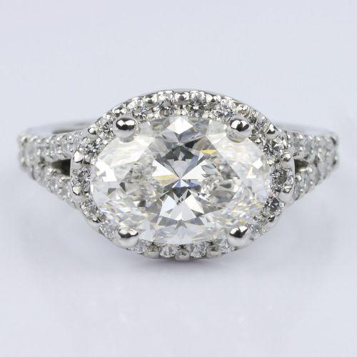 Horizontal Oval Halo Diamond Engagement Ring 2 26 ct