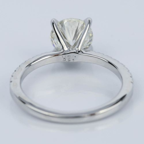 Super ideal round cut diamond with pave ring setting 1 38 ct