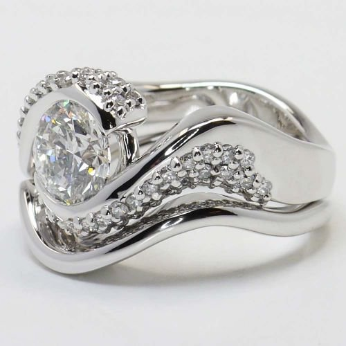 Twisted Diamond Engagement Ring and Matching Band in White Gold