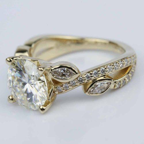 Petal moissanite gemstone engagement ring 3 00 ct image 02