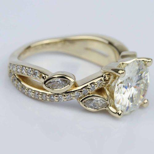 Petal moissanite gemstone engagement ring 3 00 ct image 03