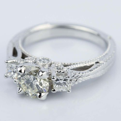 Vintage Milgrain Three Stone Diamond Engagement Ring