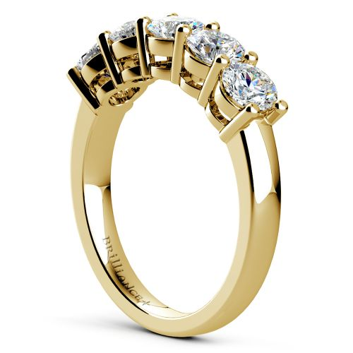 Five Diamond Wedding Ring In Yellow Gold 1 1 2 Ctw