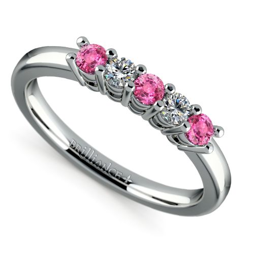 Five Diamond Amp Pink Sapphire Wedding Ring In White Gold 1 3 Ctw