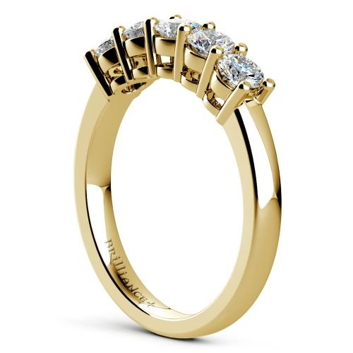 Five Diamond Wedding Ring In Yellow Gold 3 4 Ctw