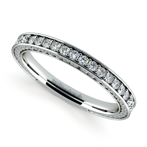 Antique Floral Diamond Wedding Ring in White Gold