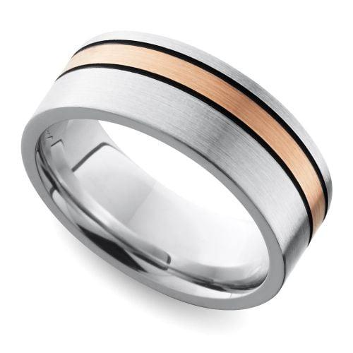 Antiqued Flat Satin Men's Wedding Ring with Rose Inlay In Cobalt