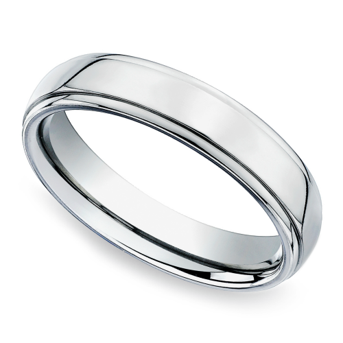 Beveled Mens Wedding Ring in White Gold 5mm