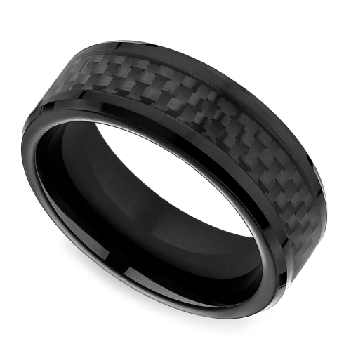 black carbon fiber s wedding ring in cobalt
