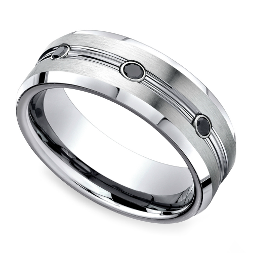 Black Diamond Men s Wedding Ring in Cobalt 7 5mm