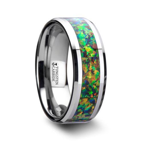 Blue Orange Opal Inlay Men 39 S Wedding Ring In Tungsten