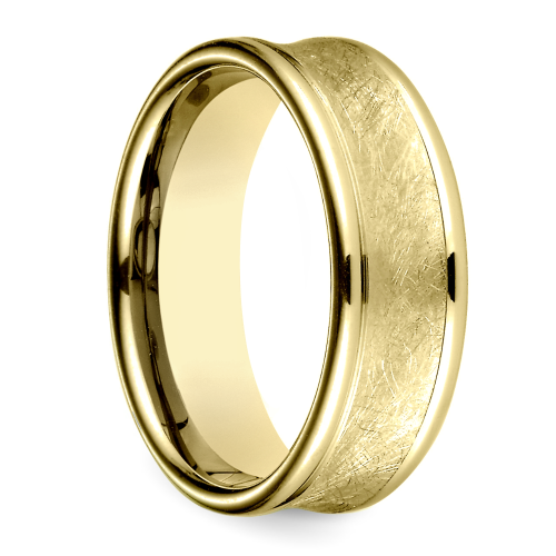 concave swirl s wedding ring in yellow gold