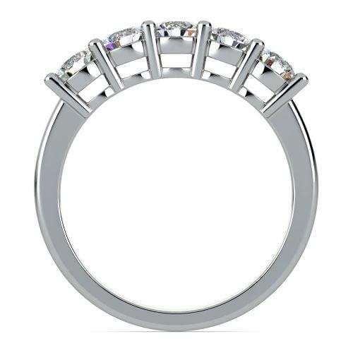 Five Diamond Wedding Ring in White Gold 1 ctw