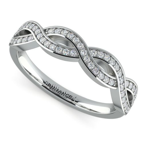 infinity twist wedding ring in platinum