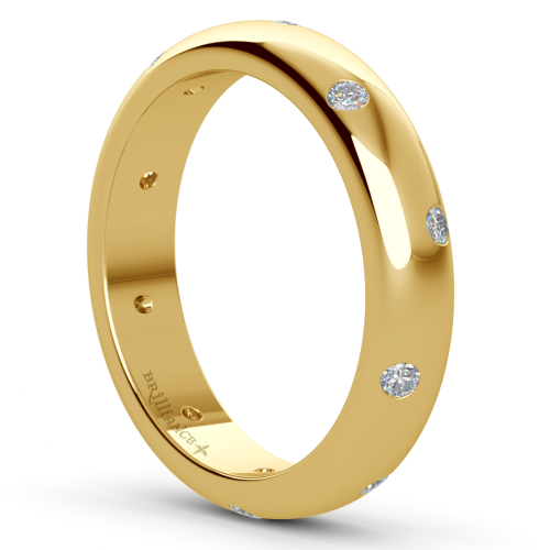 Inset Diamond Wedding Ring in Yellow Gold 4mm