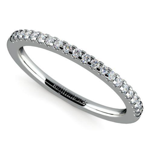 Matching halo pave diamond wedding ring in white gold for Matching white gold wedding rings