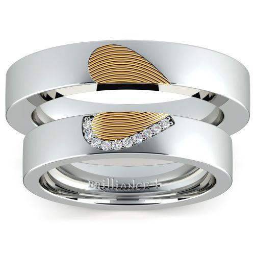 matching fingerprint inlay wedding ring set in