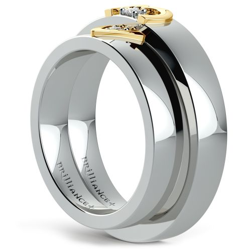 Matching Split Heart Diamond Wedding Ring Set In Platinum And Yellow Gold