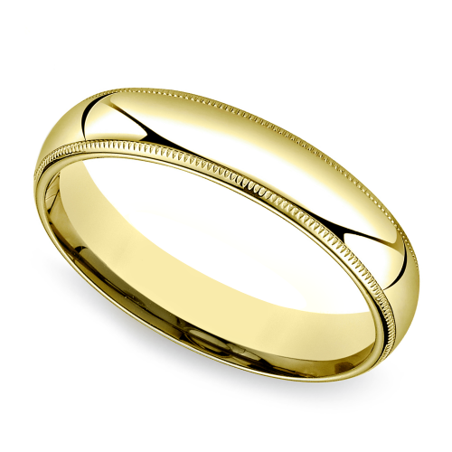 mid weight milgrain s wedding ring in yellow gold 5mm