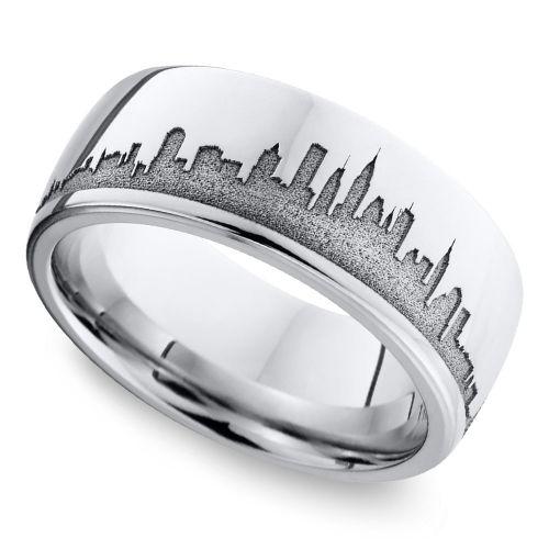 New York Skyline Men 39 S Wedding Ring In Cobalt