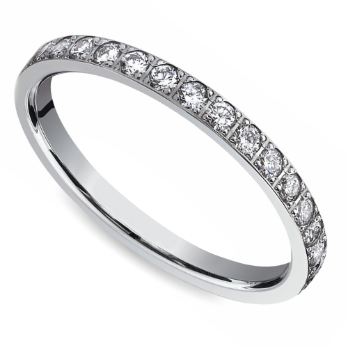 Pave Diamond Eternity Ring in White Gold (3/4 ctw) | Image 01