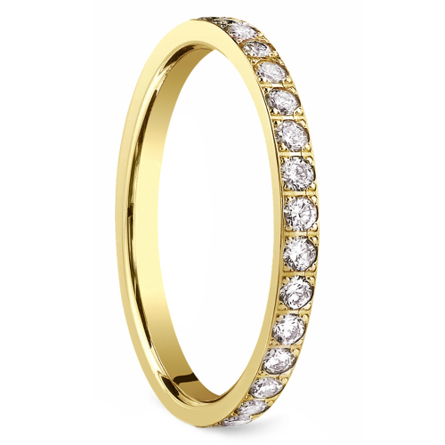 Pave Diamond Eternity Ring in Yellow Gold (3/4 ctw) | Image 02