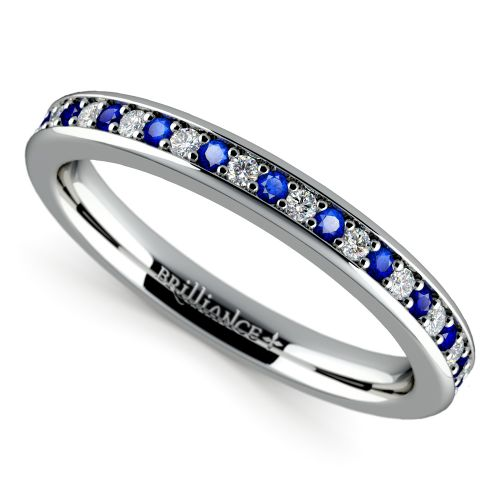 Pave Diamond Sapphire Wedding Ring in White Gold
