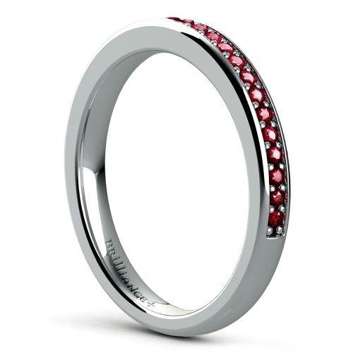 pave ruby gemstone ring in white gold