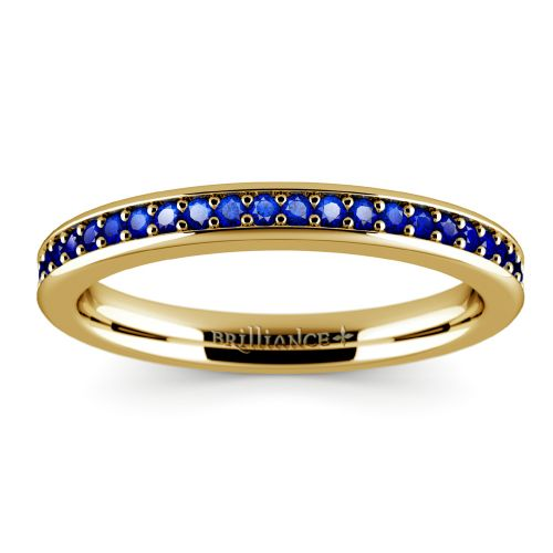 pave sapphire gemstone ring in yellow gold