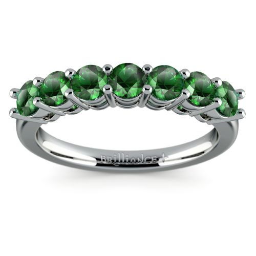 seven emerald gemstone ring in white gold image 02