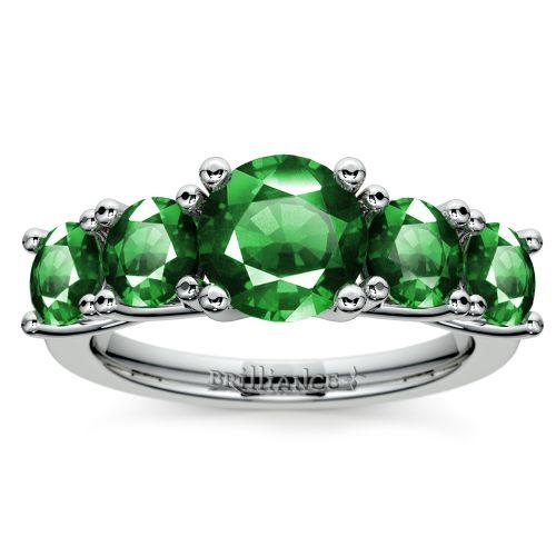 trellis five emerald gemstone ring in white gold