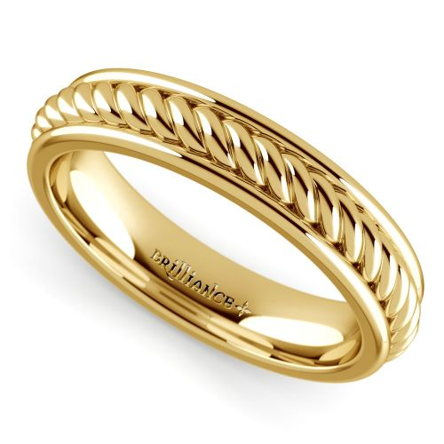 Rope Design Bands: Twisted Rope Comfort Fit Wedding Ring In Yellow Gold