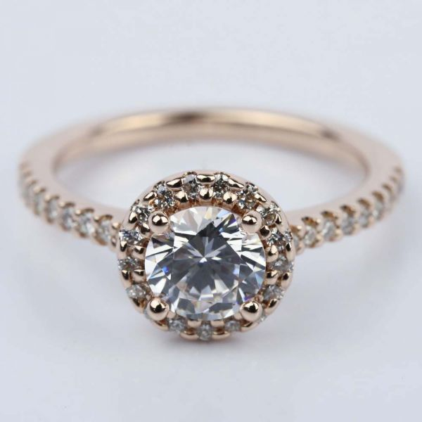 1 25 Carat Diamond Halo Engagement Ring in Rose Gold