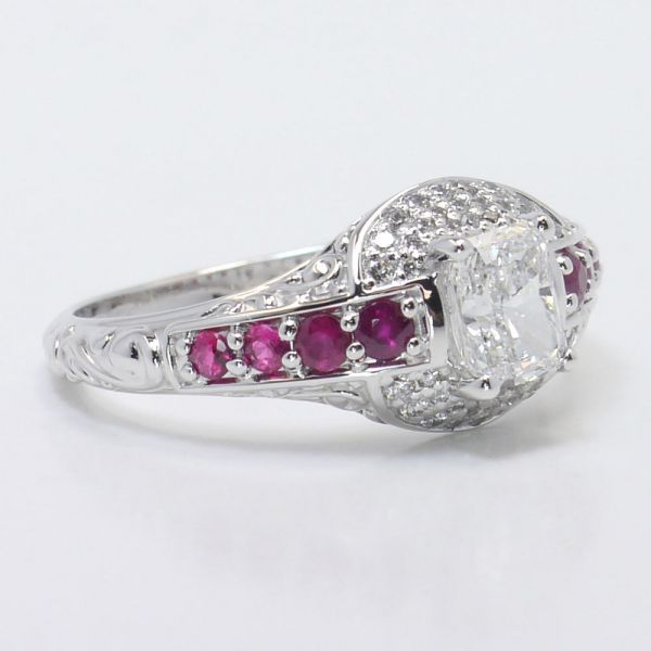 antique halo radiant cut diamond amp ruby engagement ring