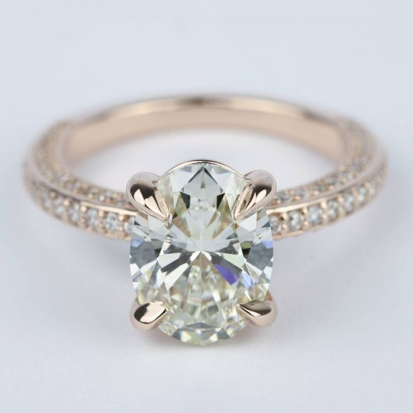 Three Sided Oval Diamond Engagement Ring in Rose Gold 3 Carat
