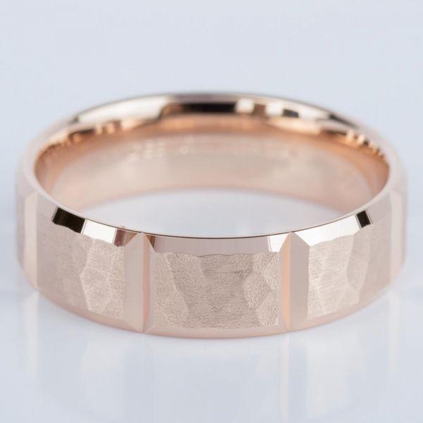 Hammered Carved Mens Wedding Ring In Rose Gold